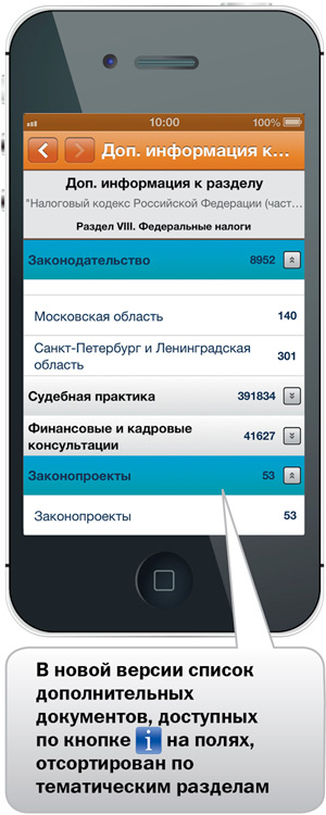 """Интерфейс приложения """"КонсультантПлюс: основные документы"""""""
