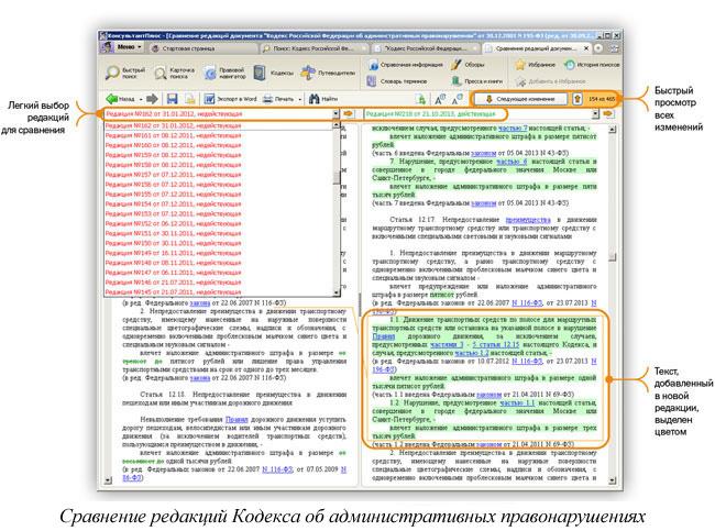 Сравнение редакций кодекса об административных правонарушениях