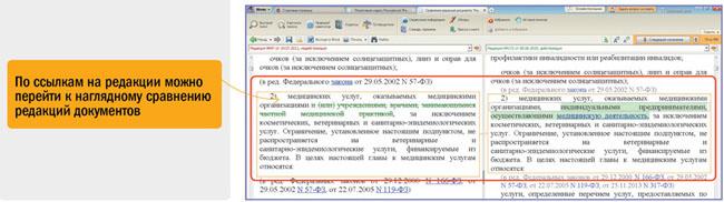 По ссылкам наредакции можно перейти кнаглядному сравнению редакций документов