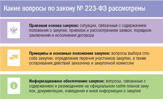 Какие вопросы по закону N 223-ФЗ рассмотрены
